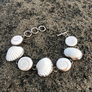 Shiva Eye and Scallop Shell Silver Link Bracelet-Jenstones Jewelry
