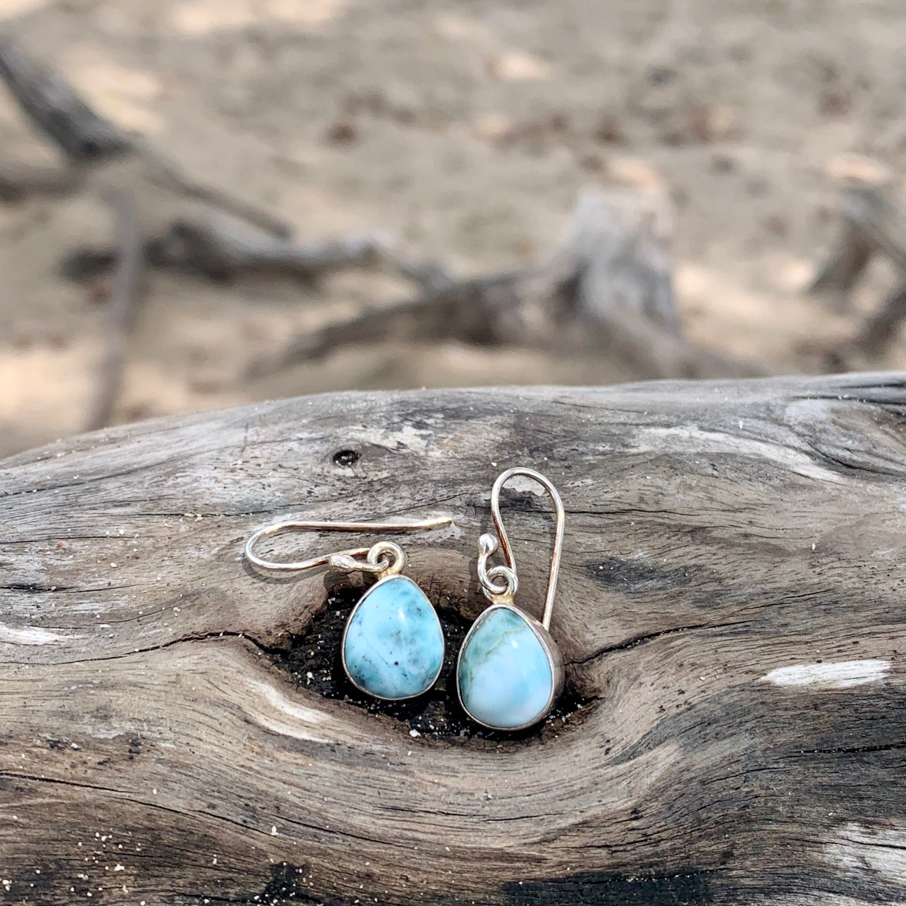 Larimar Tear Drop Earrings-Jenstones Jewelry