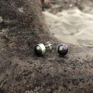 Black Fresh Water Pearl Post Earrings-Jenstones Jewelry