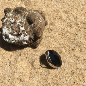 Faceted Onyx Ring-Jenstones Jewelry