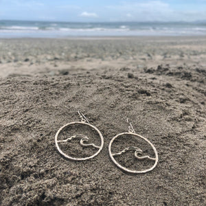 Hammered Wave Medium Hoops-Jenstones Jewelry