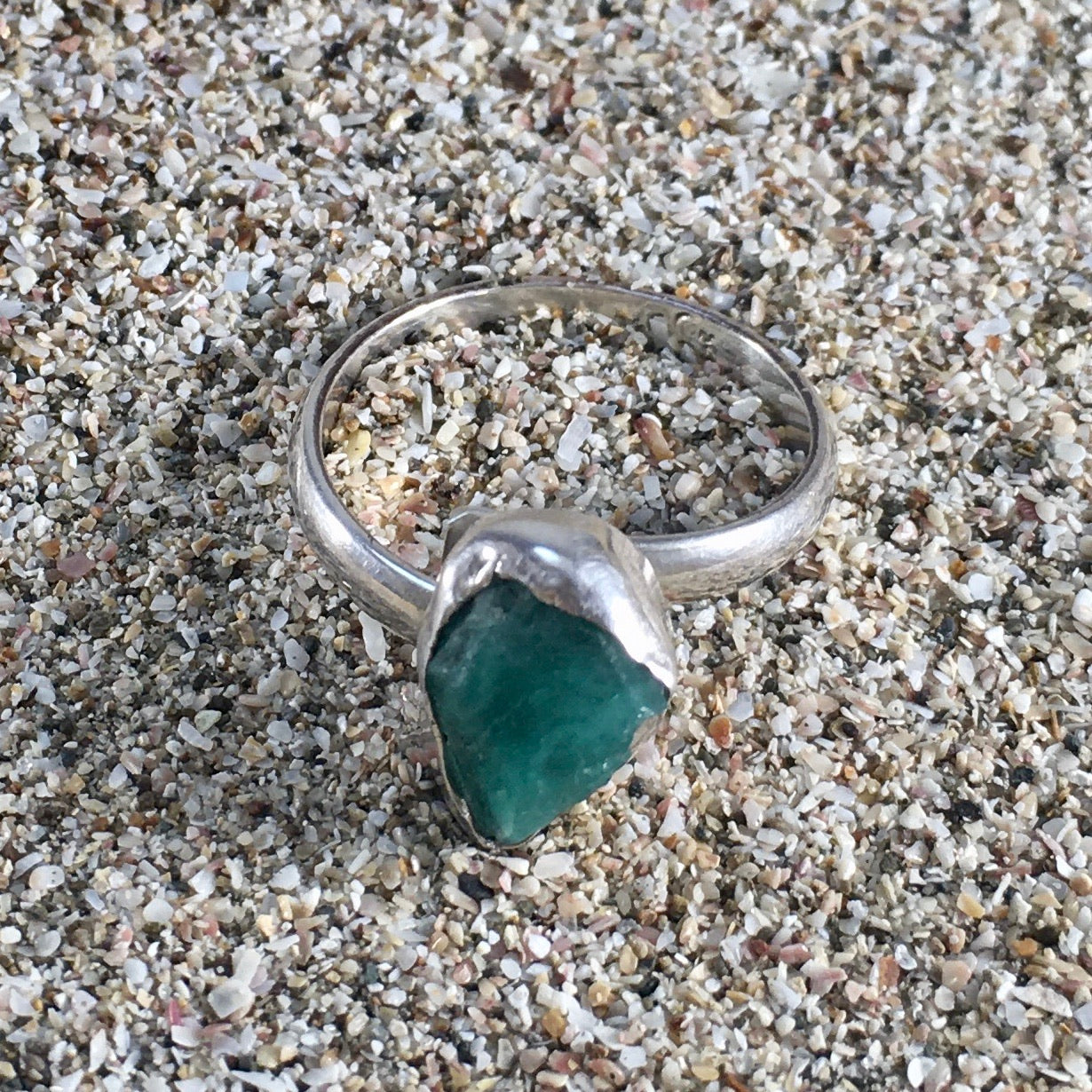 Emerald Ring Raw Facet-Jenstones Jewelry