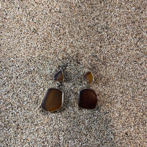 Sea Glass Dangle Earrings Double Drop Amber-Jenstones Jewelry