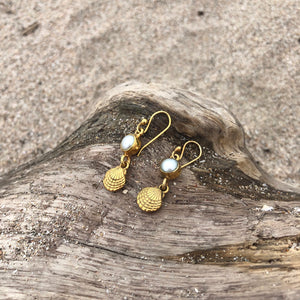 Clam and Pearl Dangle Bronze Earrings-Jenstones Jewelry