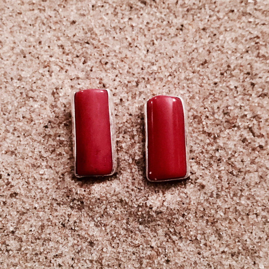 Post Earrings Red Coral Rectangular