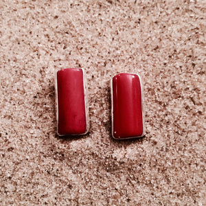 Post Earrings Red Coral Rectangular-Jenstones Jewelry