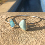 Load image into Gallery viewer, Wrap Bangle Larimar & Blue Opal-Jenstones Jewelry