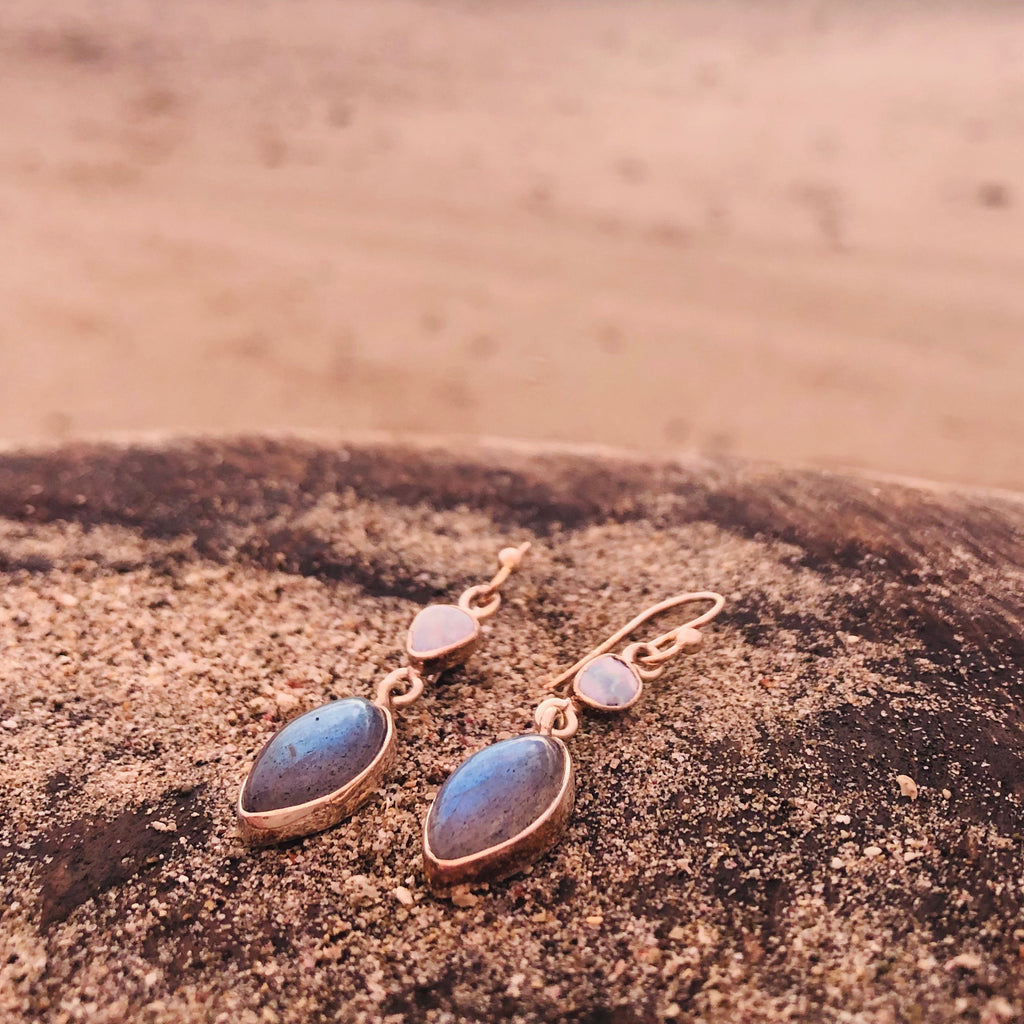 Labradorite & Australian White Opal Earrings-Jenstones Jewelry