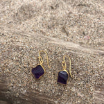 Load image into Gallery viewer, Raw Amethyst Bronze Earrings-Jenstones Jewelry