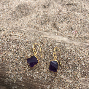 Raw Amethyst Bronze Earrings-Jenstones Jewelry