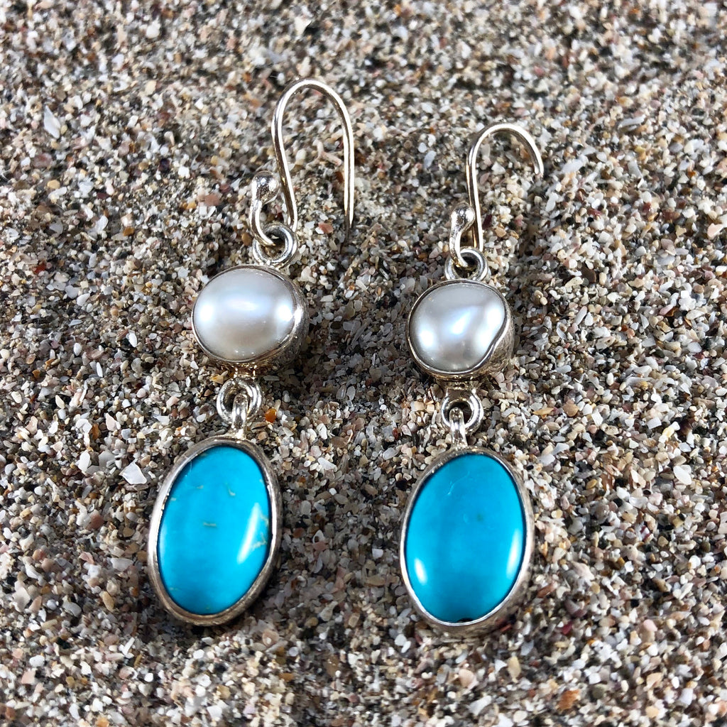 Double Pearl Earrings with Turquoise-Jenstones Jewelry
