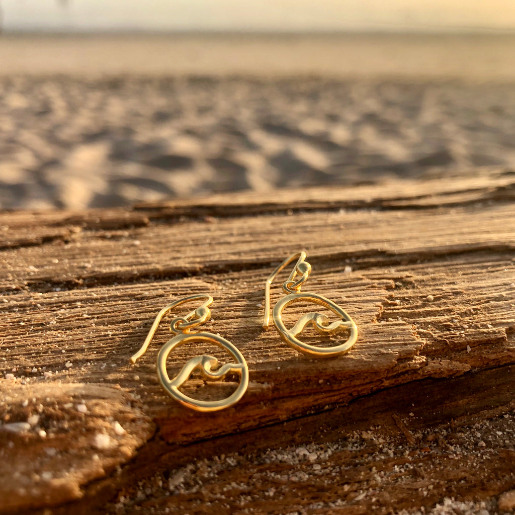 Small Wave Earrings in Bronze with Gold Plating-Jenstones Jewelry