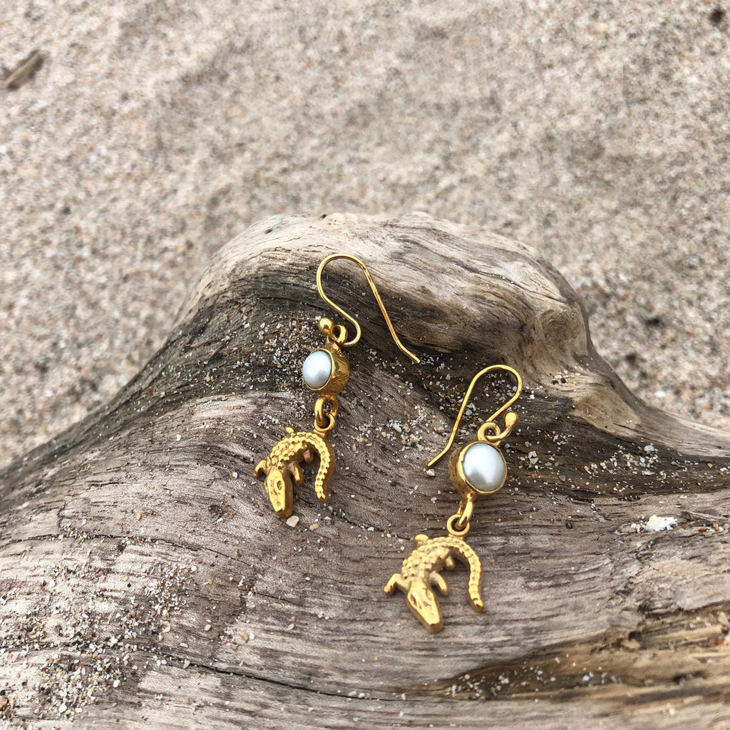 Croc and Pearl Dangle Bronze Earrings-Jenstones Jewelry