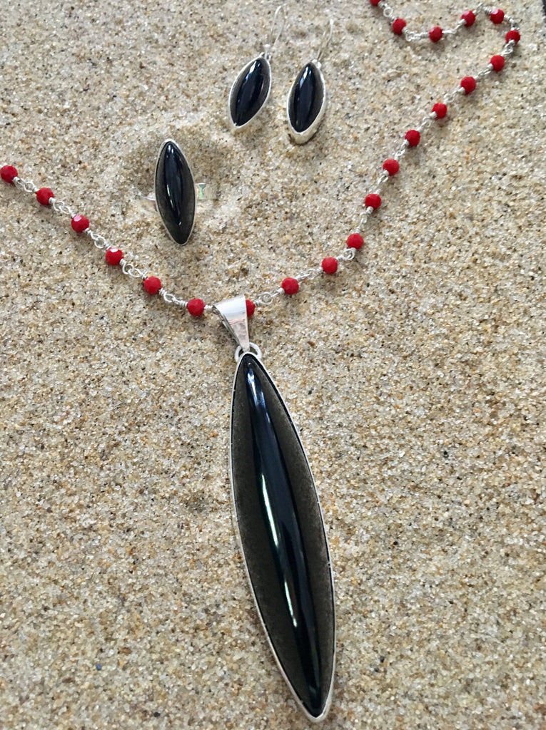 Pendant Sterling and Onyx Shaft