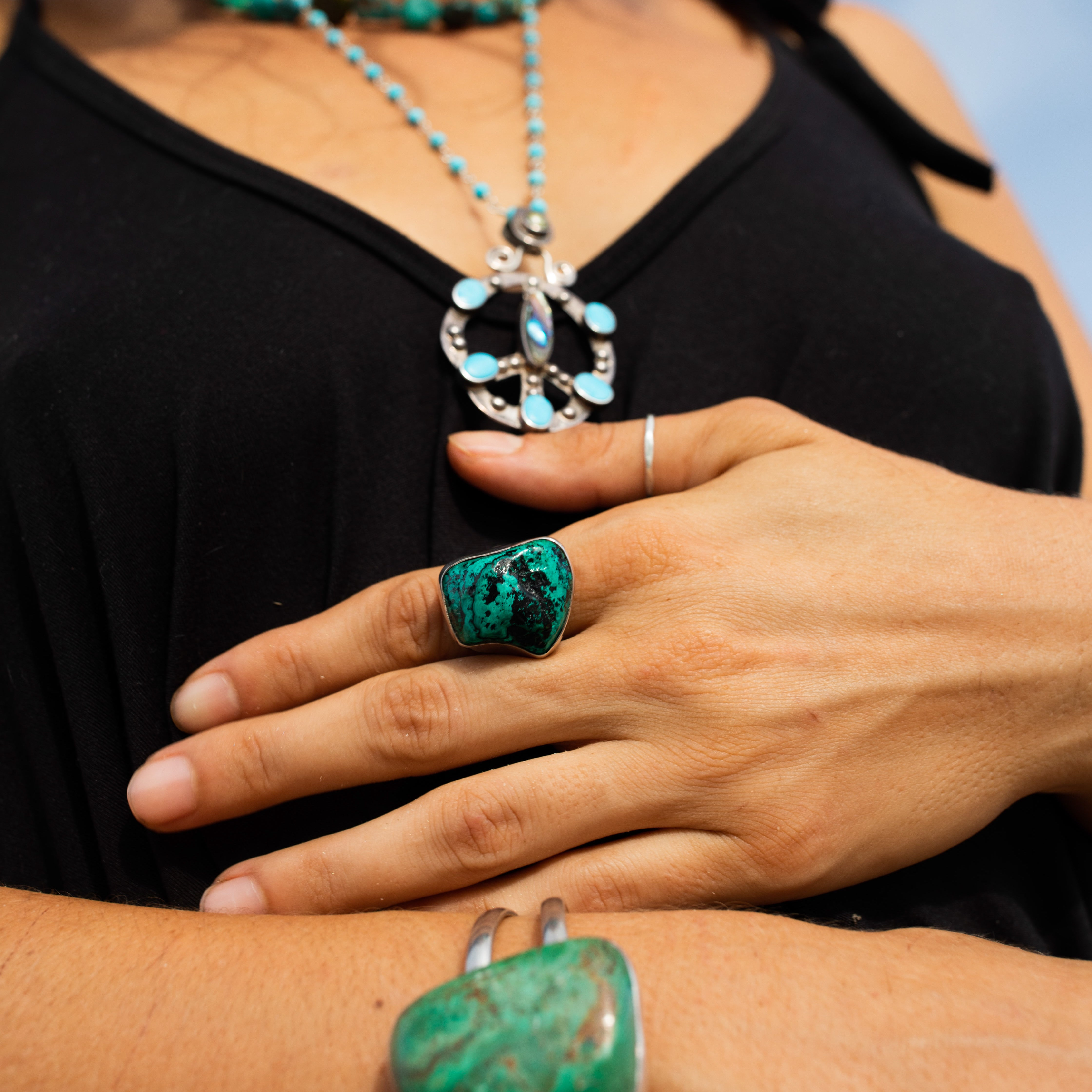 Turquoise & Sterling Raw Nugget Ring-Jenstones Jewelry