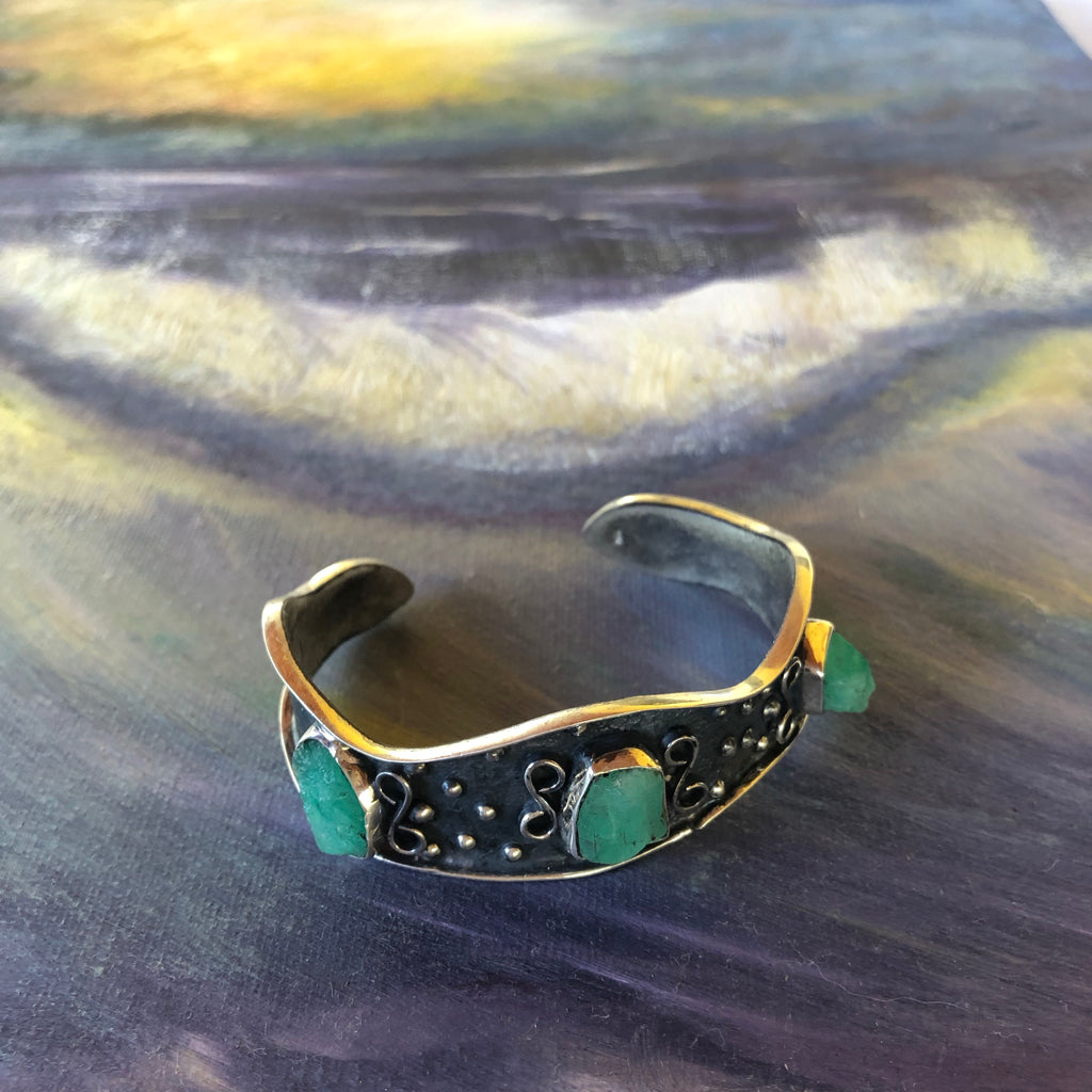 Emerald Triple Cuff Repousse' with Swirl
