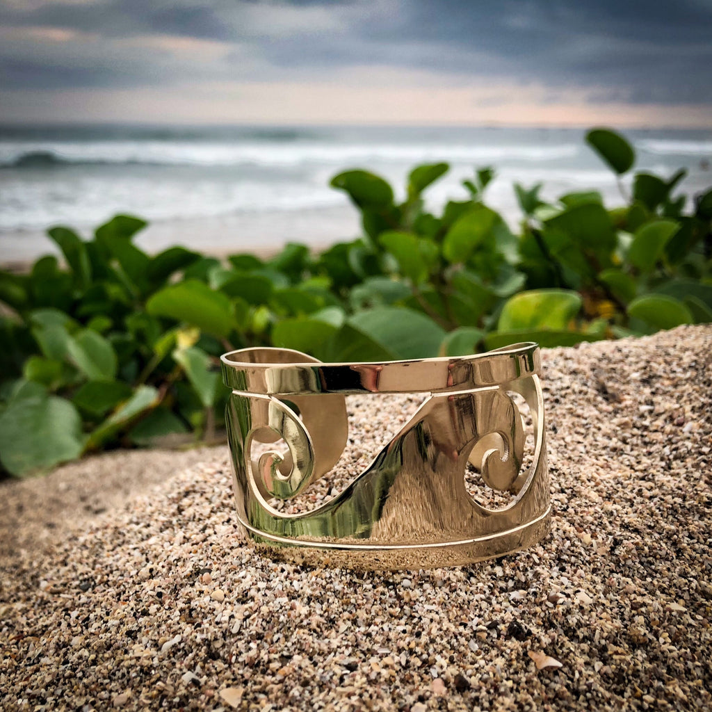 Gold Plated Bronze Wave Cuff