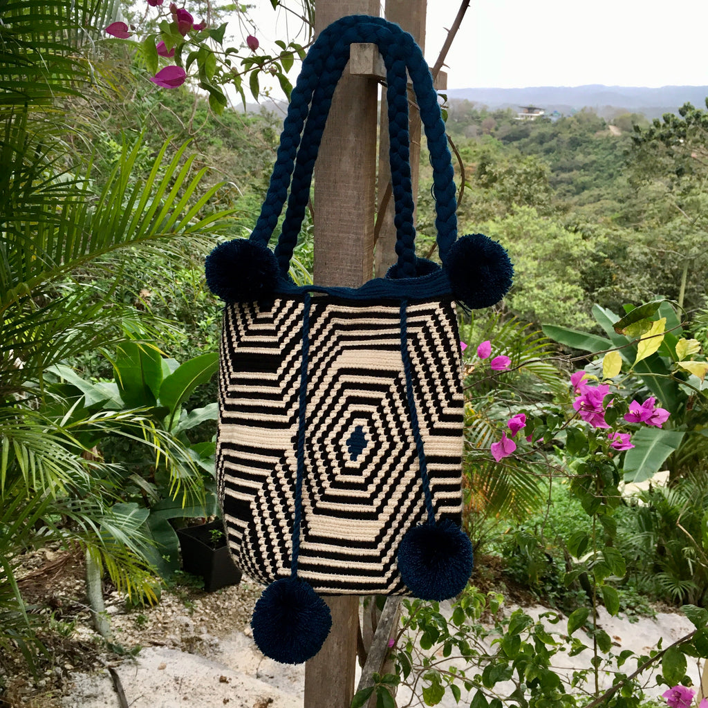 Mochila Blue/Black & White Pattern Large Pom Pom Braid-Jenstones Jewelry