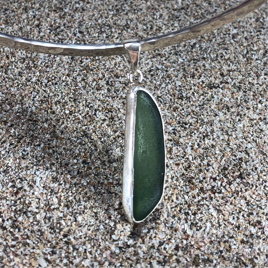 Pendant Sterling and Dark Green Sea Glass Medium-Jenstones Jewelry