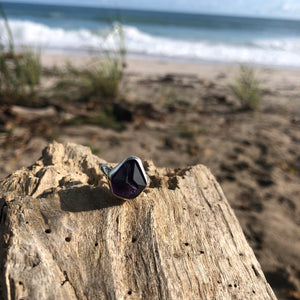 Amethyst Ring Raw crystal-Jenstones Jewelry