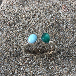 Load image into Gallery viewer, Emerald and Larimar Wrap Ring-Jenstones Jewelry