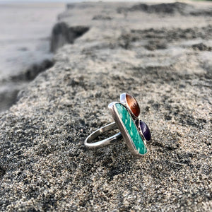 Turquoise, Amber, Amethyst Sterling Ring-Jenstones Jewelry