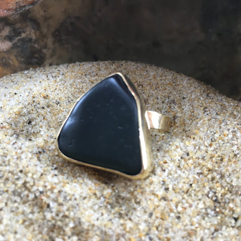 Bronze Sea Glass Ring Antique Black