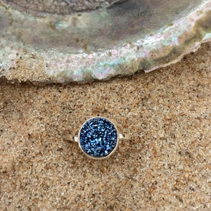 Ring Sterling and Deep Blue Druze Petite-Jenstones Jewelry