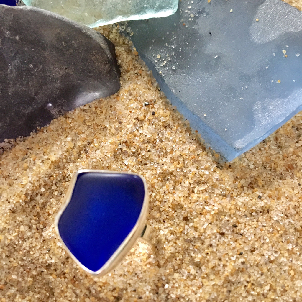 Ring Sterling and Cobalt Blue Seaglass Assymetrical