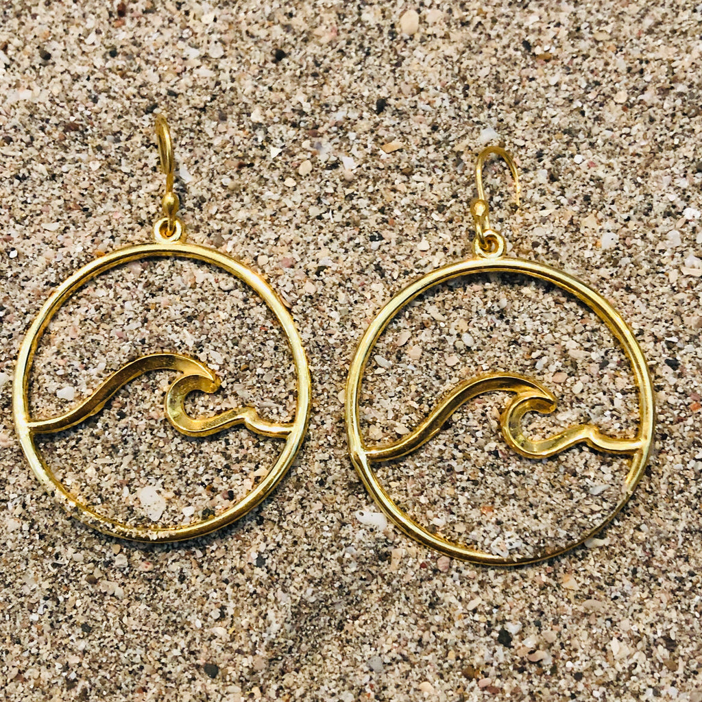 Nosara Wave Hoops GP over Bronze-Jenstones Jewelry
