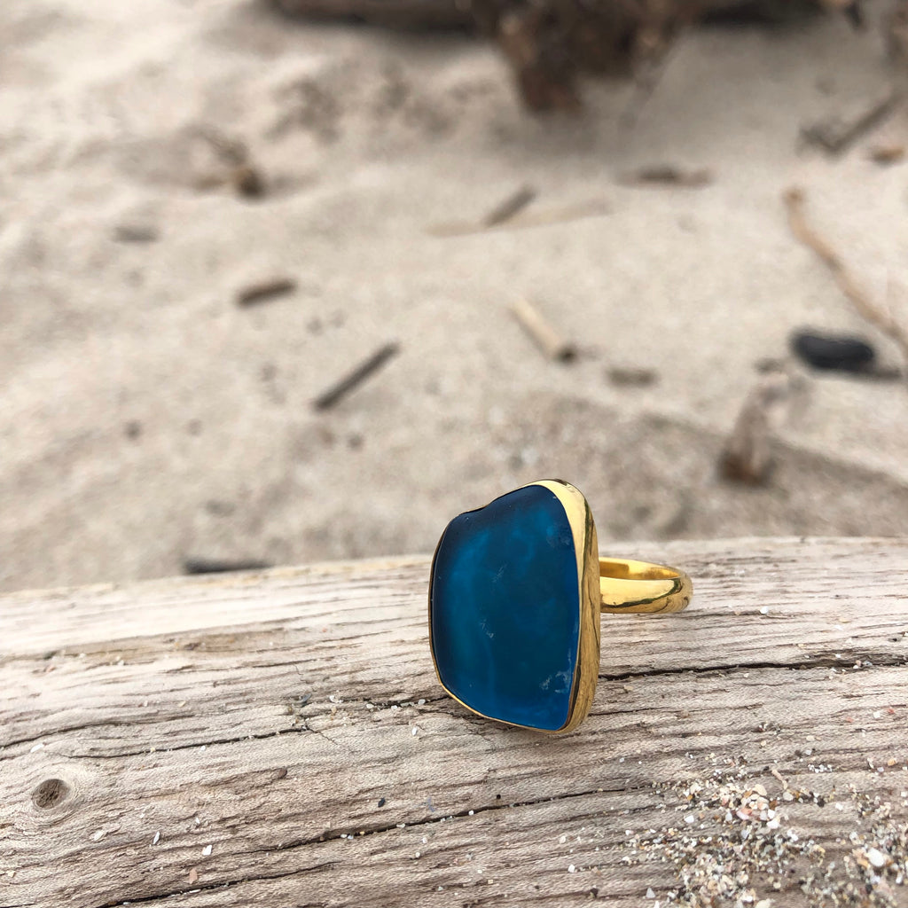 GP Bronze Sea Glass Ring Deep Sea Blue-Jenstones Jewelry