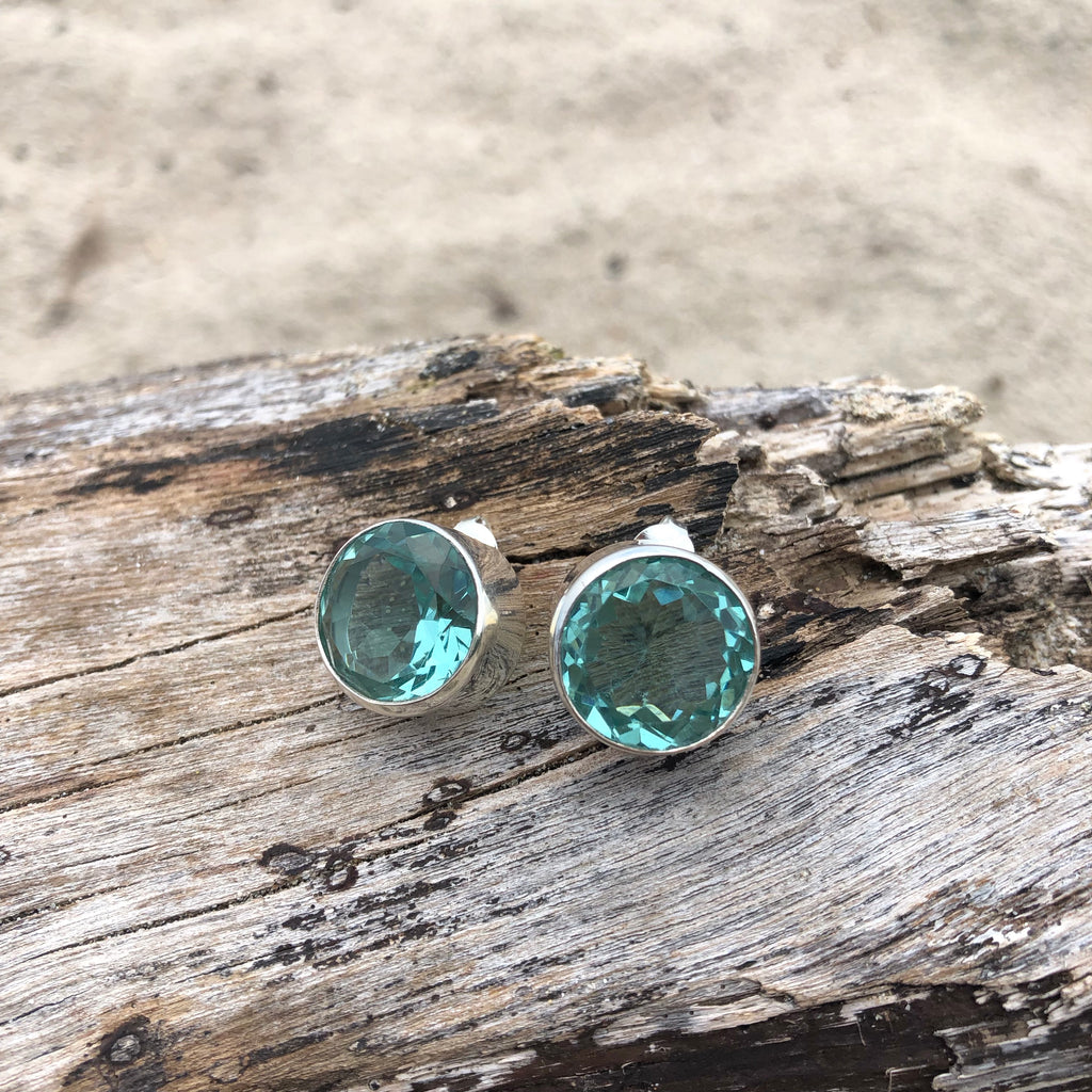 Green Amethyst Faceted Posts-Jenstones Jewelry
