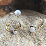 Load image into Gallery viewer, Bronze Wrap Ring White Pearl-Jenstones Jewelry