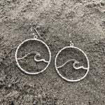 Load image into Gallery viewer, Hammered Wave Medium Hoops-Jenstones Jewelry