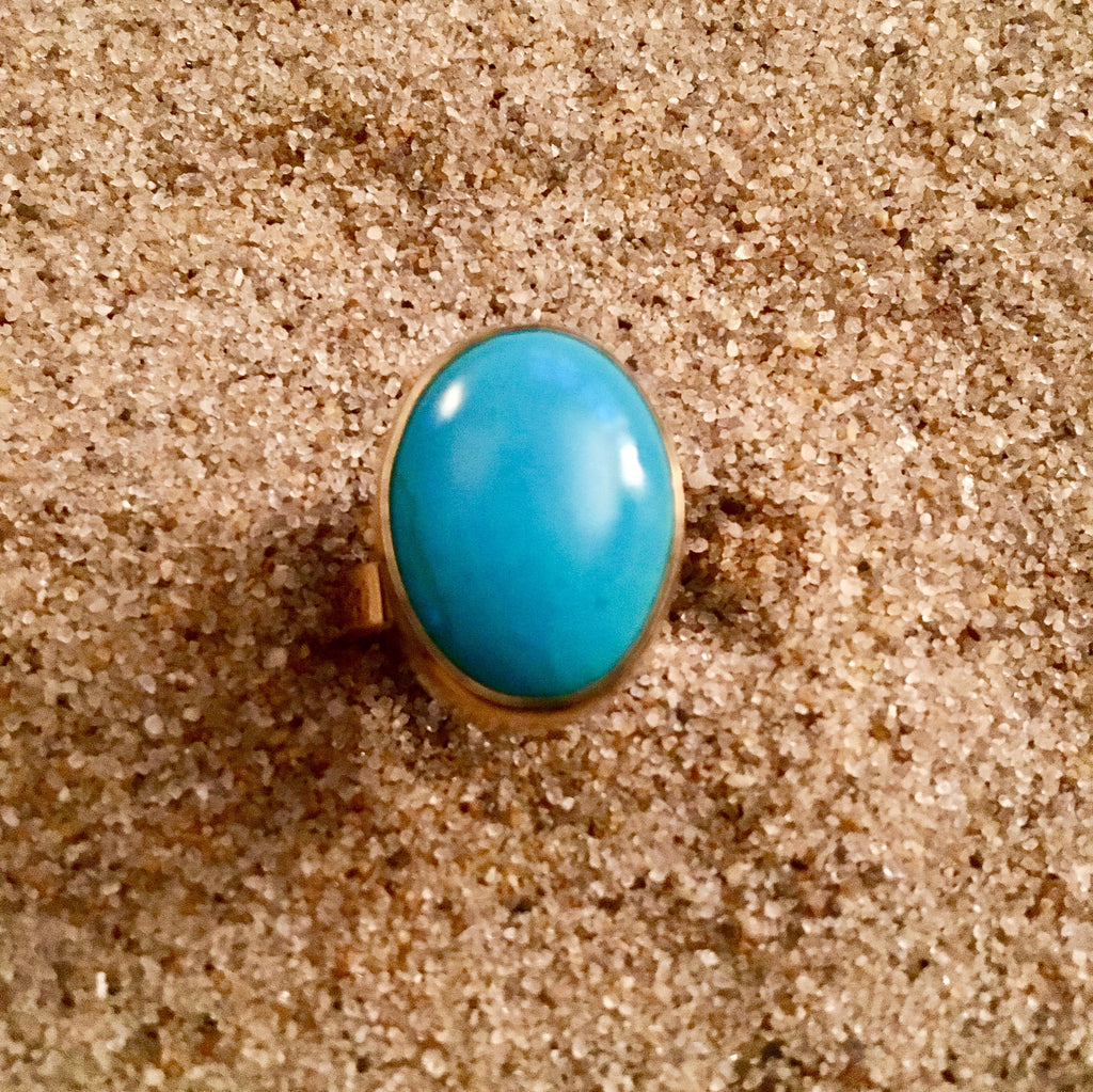 Ring Bronze with Turquoise Oval Medium