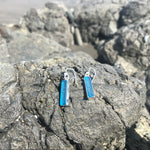 Load image into Gallery viewer, Sea Glass Dangle Earrings Aqua Rectangles-Jenstones Jewelry