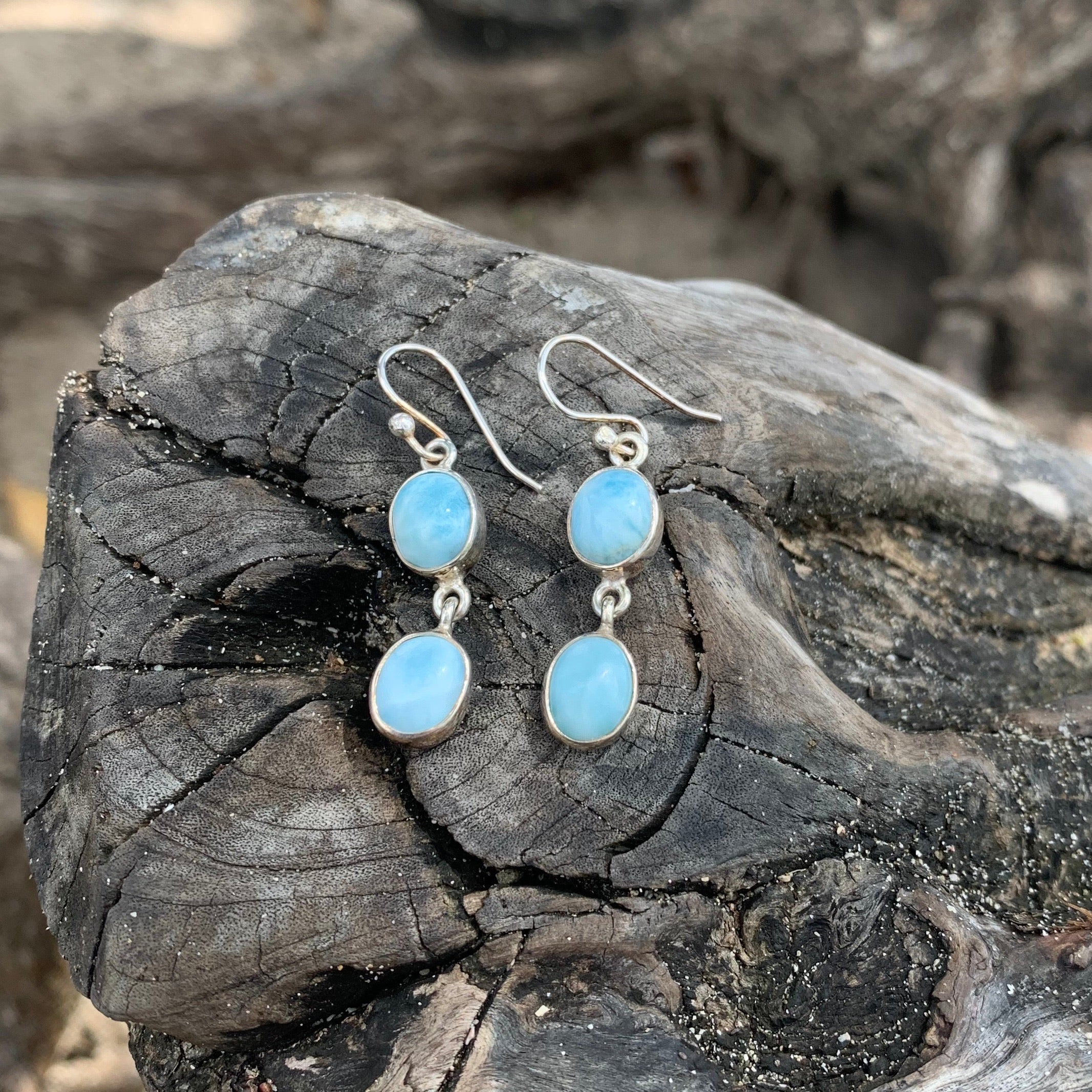Larimar Double Dangle Earrings-Jenstones Jewelry