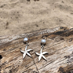Starfish and Pearl Sterling Dangle Earrings-Jenstones Jewelry