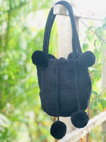 Load image into Gallery viewer, Mochila Black Small Pom Pom-Jenstones Jewelry