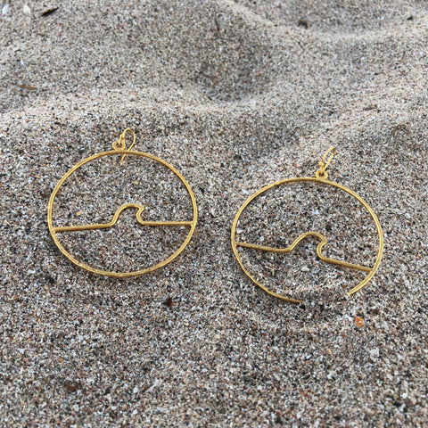Hammered Wave Hoops GP over Bronze Large