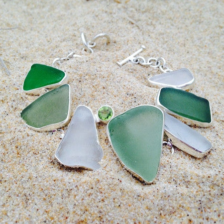 Link Bracelet Green Sea Glass and Peridot