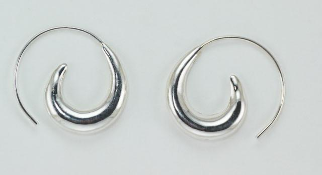 sterling silver wave hoops