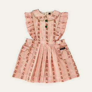 Bonjour Apron Dress - Pink Wallpaper Flower Stripes