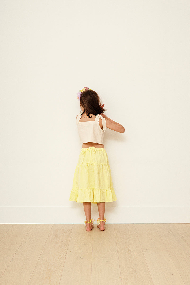Yellow Pelota Leaf Top, back