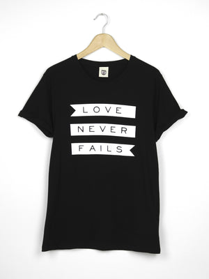 Love Never Fails - Ethical Organic Cotton Rolled Sleeve Men's T-Shirt