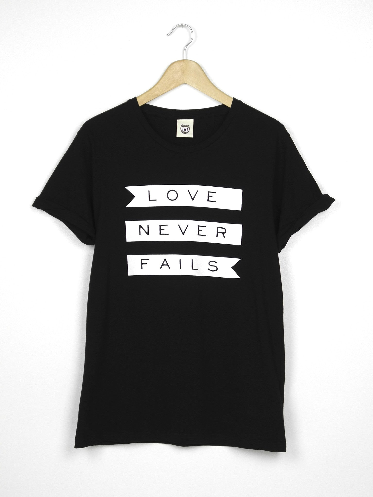 Love Never Fails - Ethical Organic Cotton Rolled Sleeve Women's T-Shirt