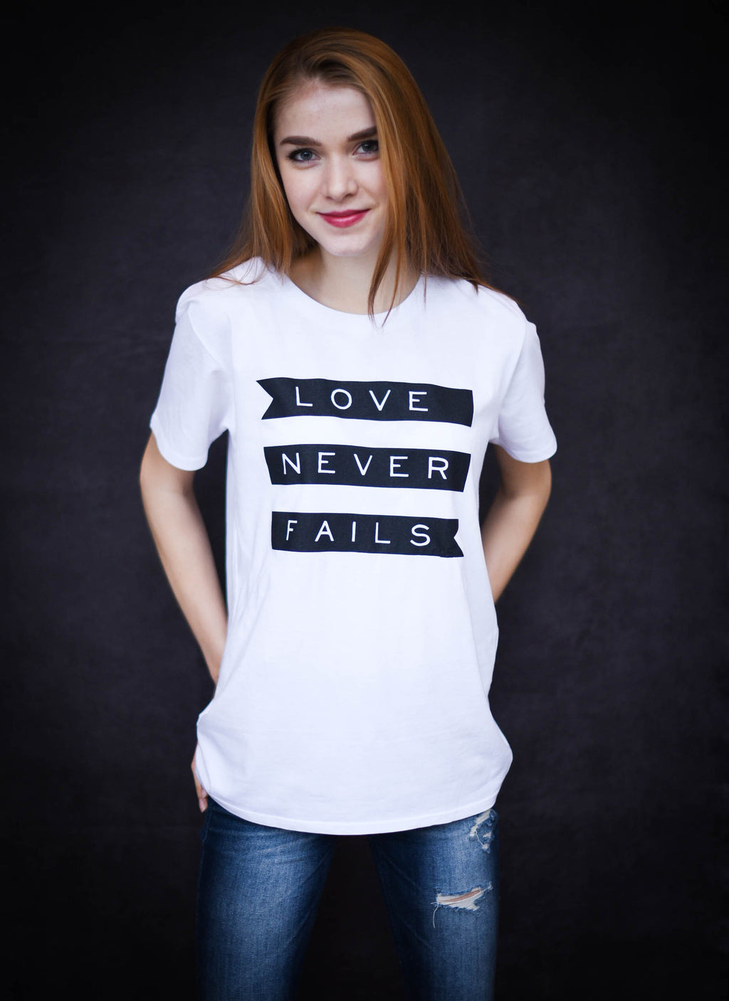 Love Never Fails - Ethical Slim Cut Combed Organic Cotton Women's T-Shirt