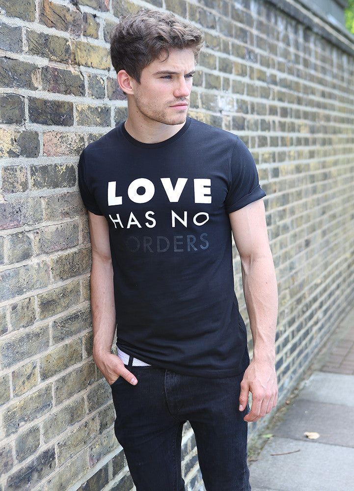 Love Has No Borders - Ethical Organic Cotton Rolled Sleeve Men's T-Shirt