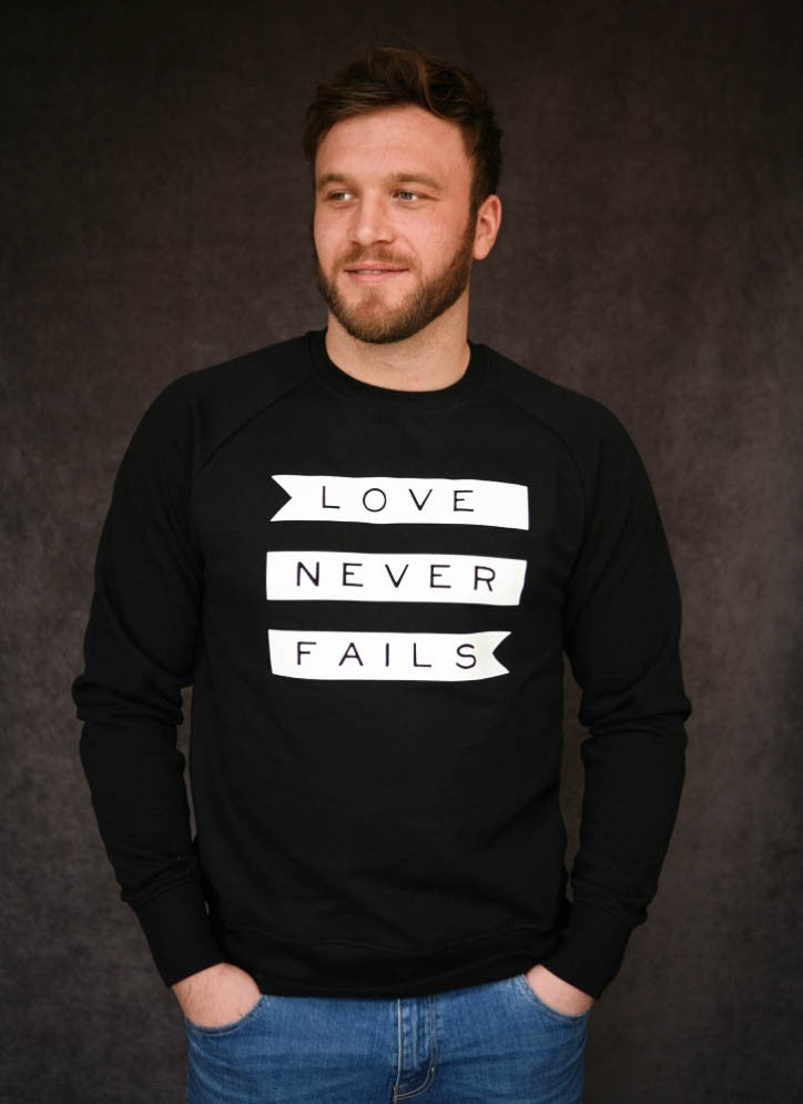 Love Never Fails - Ethical Organic Combed Cotton Men's Sweatshirt