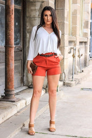 SOLID FITTED SHORTS WITH HIGH WAIST